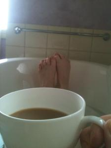 Drinking tea and have a long soak in a clawfoot bath, all in the name of research