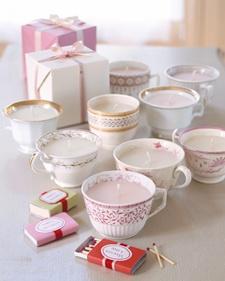 Teacup candles by Martha Stewart