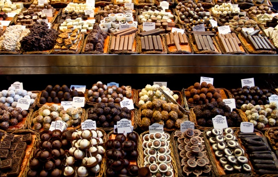 Selection of chocolate in a row